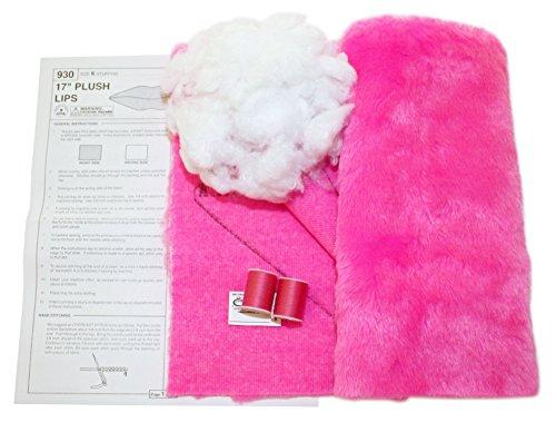 Haan Crafts Plush Lips Pillow Beginner/Kids Sewing Kit, Bright Pink