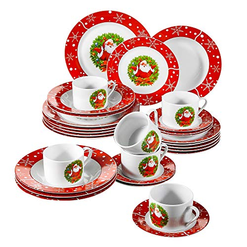 VEWEET Series SANTACLAUS, 30-Piece Porcelain Dinnerware Set, Combination Service Set for 6 Person, with Cup Saucer Dessert Plate Soup Plate and Dinner Plate,Tableware Plate Set for Christmas Holiday