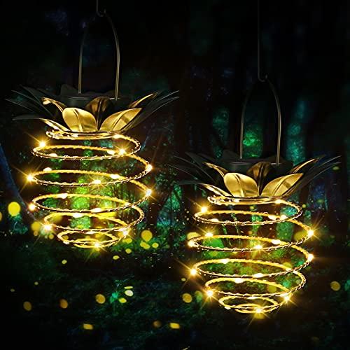 Sooair Solar Laterne, 2 Stück Solarleuchten 24 LED Hängende Ananas Solarleuchte IP65 Wasserdicht Garten Solarlampe für Garten, Party, Weihnachten, Hochzeit