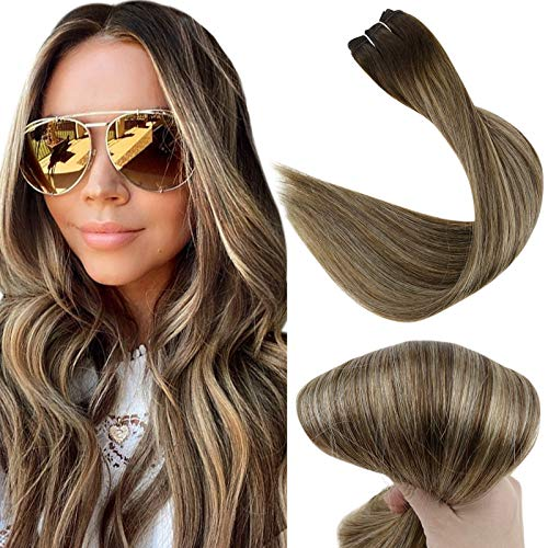 Fshine Weft Bundles 16 Inch Remy Sew in Hair Extensions Color 2 Fading to 3 Dark Brown and 27 Blonde Straight Hair Weft Balayage Hair Bundles 100 Gram Full Head Hair
