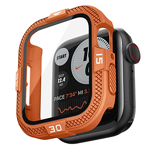 T-ENGINE Funda compatible con Apple Watch Funda 44 mm SE Series 6 5 4, 360 ° Funda completa con protector de pantalla de vidrio templado resistente ultradelgado para 44 mm, color naranja