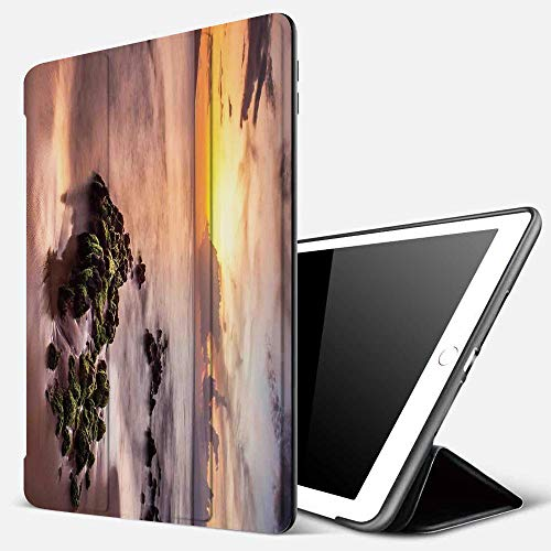 Case for iPad Air 10.2(2019/2018),Seaside Decor,Wailea Maui Sunset Warm Sunlight Dark Clouds Nautical Waterscape Picture,Cover with Auto Sleep Wake Feature, Slim Lightweight Stand Protective Case