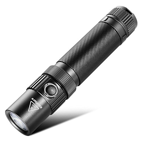 Zanflare F1 Linterna con 7 Modos, USB Recargable Linterna Táctica, Grado impermeable IP68, Cree XP-L V6 1240 Lumen Linterna con Martillo de Seguridad, linterna alta potencia,uso de militar.