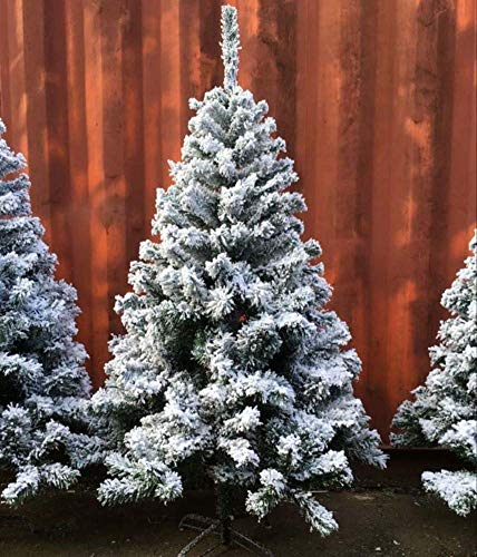 Snow Forest Christmas Tree, Large Dull Snow Artificial Flock Fluffy Xmas Tree Christmas Ornaments with Metal-Pine Holder 6ft / 180cm