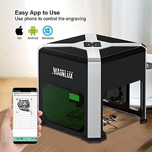 Grabador láser WAINLUX K6, mini máquina de grabado láser de 3W, control de aplicaciones, conexión WiFi, grabador láser portátil, cortador, impresora de bricolaje, marcado de logotipos
