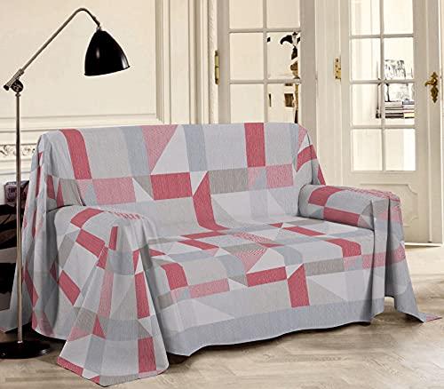 Biancheriastore Tela decorativa para sofá de piqué fabricada en Italia, diseño geométrico   Manta de algodón jacquard ligero de verano de colores – para cama de matrimonio 260 x 280 cm – Rojo