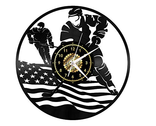 SKYTY Vinyl-Wanduhr - Eishockey - Retro-Atmosphäre Silhouette Rekord Handgemachtes Geschenk Cool Home Art Decor Kein Led-Licht 12 Zoll