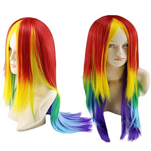XHCP Peluca Larga y Recta para Mujer, My Little Pony Rainbow Dash Cosplay Peluca Cola de Caballo Multicolor Sintético Completo Pelo Largo Peinado Vestido