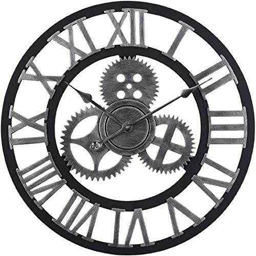 BANNAB Reloj de Pared Retro Gear de Gran tamaño ndash;? Madera silenciosa (81,3 cm, Dorado, números Romanos), Plata Romana, 40,6 cm