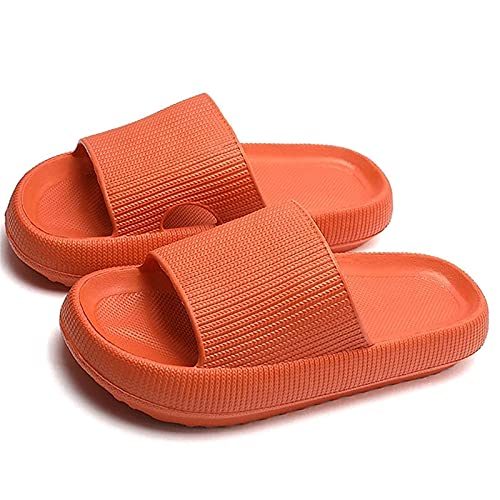 PNDGMCSY Pillow Sandals, Shower Sandal Slippers with Drainage Holes Quick Drying Bathroom Slippers Gym Slippers Soft Sole Open Toe House Slippers for Men and Women (40-41,Orange)