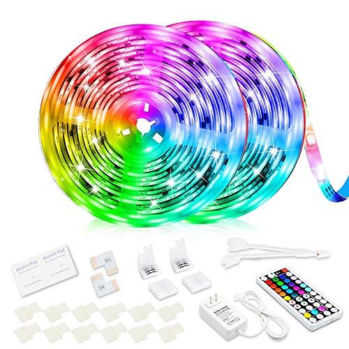 Led Strip Lights, Super Bright RGB 32.8ft/10M 24V Color Changing Led Strip Lights with 44 Keys RF Remote Controller for Bedroom Room TV Party Festival Wedding