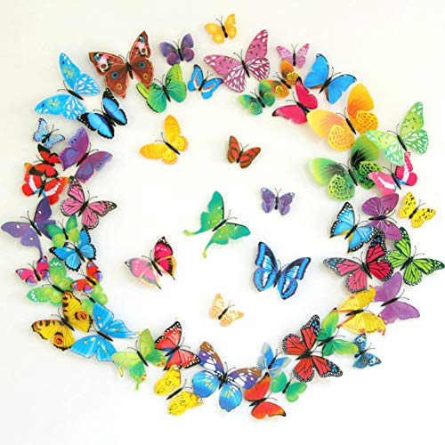 Bosdontek 100 Stück 3D Schmetterlinge Aufkleber Wandsticker Wanddeko Dekoration Wandtattoo für Baby Kinderzimmer Party Raumdekoration Klebepunkten+Magnet