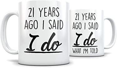 21th Anniversary Gift for Couple - Funny 21 Year Wedding Anniversary for Men and Women - Him and Hers Marriage Coffee Mug Set I Love You for Parents or Friends