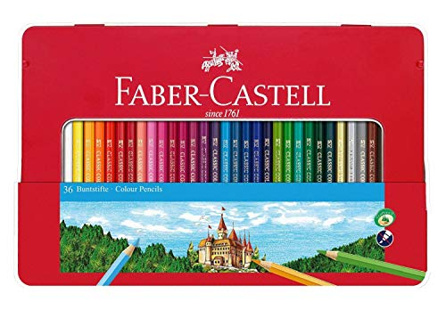Faber-Castell 115886 - Estuche de metal con 36 lápices de colores, multicolor