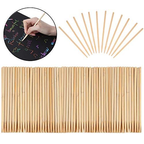 Rocutus 250 Pieces Heavy Duty Wood Stylus Tools,Multi-Purpose Scratch Art Wooden Stylus Stick Art Sticks for Kids DIY Craft