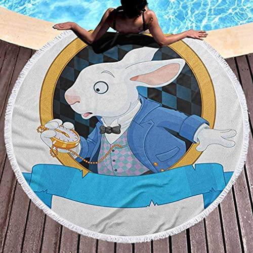 Alfombra de playa redonda en el país de las maravillas Manta circular Conejo ultra suave con diseño de reloj de bolsillo Increíble Alice Fantasy World Uso para niños, mujeres, hombres, niños, niñas, a