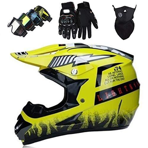 Casco Cross Niño, MJH-01 Set de Casco Motocross de Moto con Gafas...