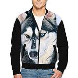 1Zlr2a0IG Men's Print Zip Front Jacket Siberian Husky Stand Collar Baseball Bomber Jacket Sleeve Coat