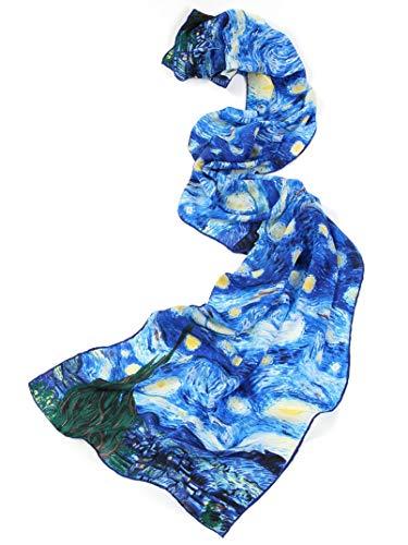 prettystern 160cm sciarpa di seta lunga Dipinto Van Gogh blu Notte Stellata (starry Night) P117