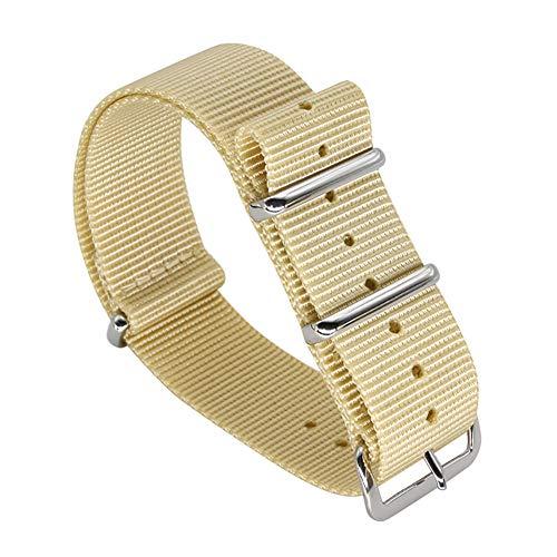 18 millimetri beige di fascia alta stile NATO superiore nylon balistico sostituzione cinghia della fascia orologio per gli uomini intrecciati