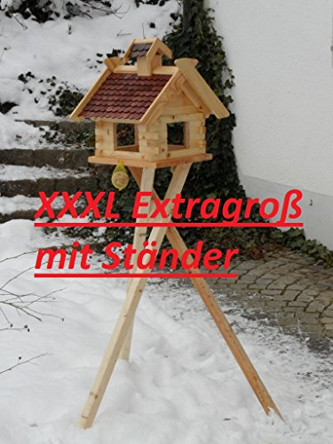 Großes XXXL Vogelhaus Futtersilo Futterhaus Vogelfutter Vogelhaus Vogelvilla Vogel Blockhaus Futterspeicher XXXL mit / ohne 3-Beinständer Schwarz, Grün, Braun oder Rot (Braun mit Ständer)