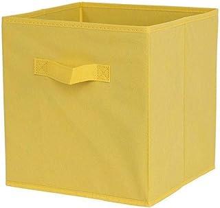 YepYes Tissu Panier Bin, Boîtes de Rangement Pliable étagère Armoire Bibliothèque avec Poignées Boîtes sans Bouclier Jaune