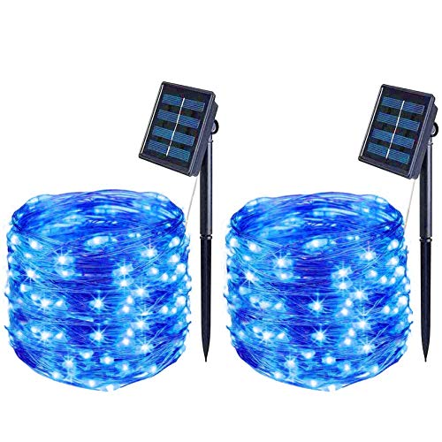 BOLWEO 2 Pack Blue Outdoor Solar Lights, 39.4Ft Solar String Lights, 120LED Solar Fairy Lights, Waterproof Starbright Rope Solar Powered Decorative Outside Home Garden Christmas Tree Yard Fence