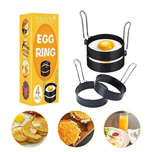 Anillo de Huevo, Egg Rings, Anillos de huevo antiadherentes, 4 pcs Inoxidable Tortilla de Cocina de Molde Antiadherente Molde de Huevo Frito Herramienta de cocción para Muffins de Huevo/panqueques