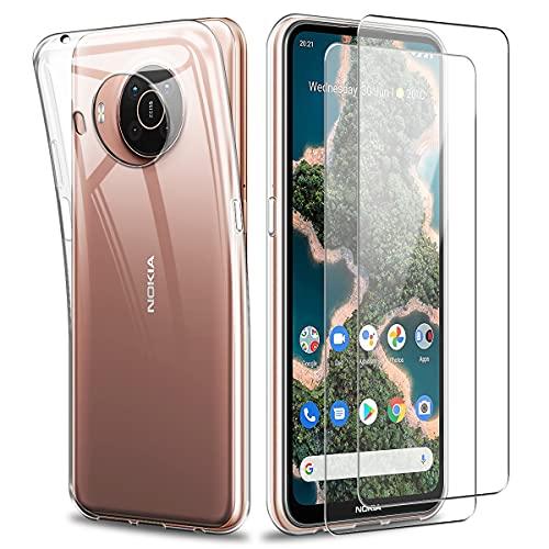 Reshias Hülle Kompatibel mit Nokia X20, Transparent Weich TPU Schutzhülle mit Zwei Gehärtetes Glas Schutzfolie Bildschirmschutzfolie für Nokia X20 / X10 5G (6,67 Zoll)