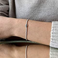 Silverly Women's .925 Sterling Silver Skull Ball Beaded Charm Adjustable Stretch Bracelet #3