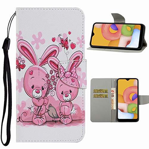 Nadoli Handyhülle für Samsung Galaxy A41,Niedlich Rosa Hase Muster Premium Leder Lanyard Magnetverschluss Ständerfunktion Schutzhülle Brieftasche mit Kartenfächer