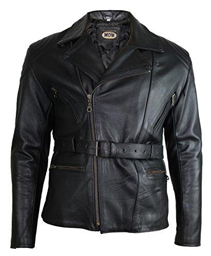 MDM Chaqueta de piel para hombre, estilo retro años 80, con protectores Negro L