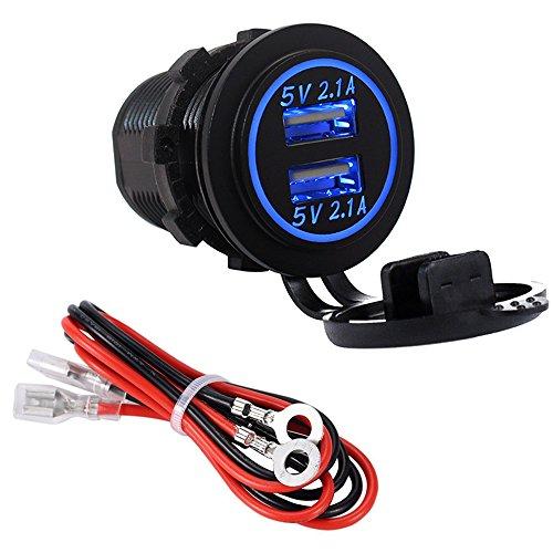 YGL Impermeable Cargador dual USB Toma de corriente 2.1A y 2.1A para 12V   24V Coche Barco Marina Camión Vehículo Motocicleta(azul)