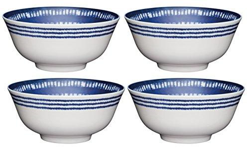 Kitchencraft à Pied Mediterranean-Style Tile-Patterned Bols, 15.5 cm (15,2 cm) (Lot de 4), en CÉRAMIQUE, Bleu/Blanc, 15.5 x 15.5 x 7.5 cm