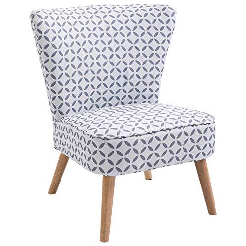 HOMCOM Cocktailsessel Loungesessel Esszimmerstuhl mit Rückenlehne Polstersessel Leinen Sessel Holz Grau-Weiß Gemustert 63 x 70 x 77 cm
