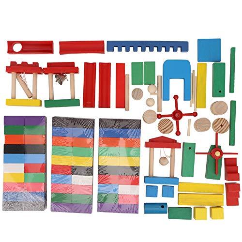 Juego de dominó de madera de 300 piezas, colorido juego de bloques de construcción de dominó Ciencia educativa Juguetes de madera para Niños