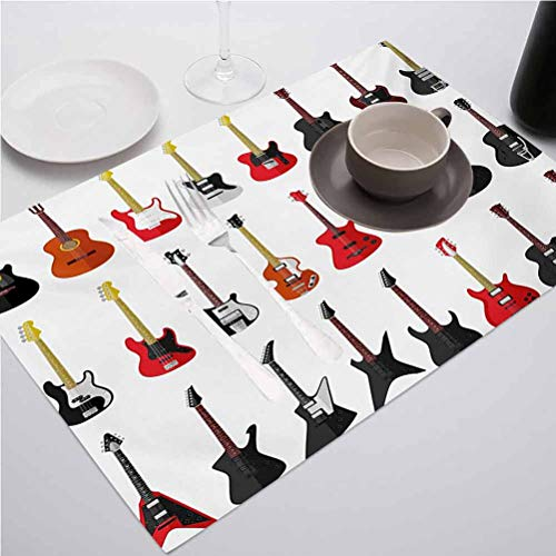 FloraGrantnan Non-Slip Heat Resistant Dining Table Placemats, Guitar Musical Instruments Set Pattern with Vario, for Catering Events, Wedding, Indoor and Outdoor Parties, Set of 8