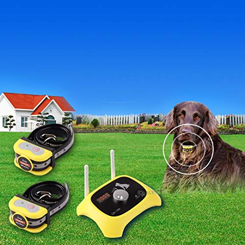 JUSTPET Wireless Dog Fence Electric Pet Containment System, Adjustable Control Range 1000 Feet, Wireless Fence Dog Boundary Container, Waterproof...