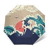 Paraguas tradicional japonesa resistente al viento compacto para mujeres y hombres paraguas plegable de viaje