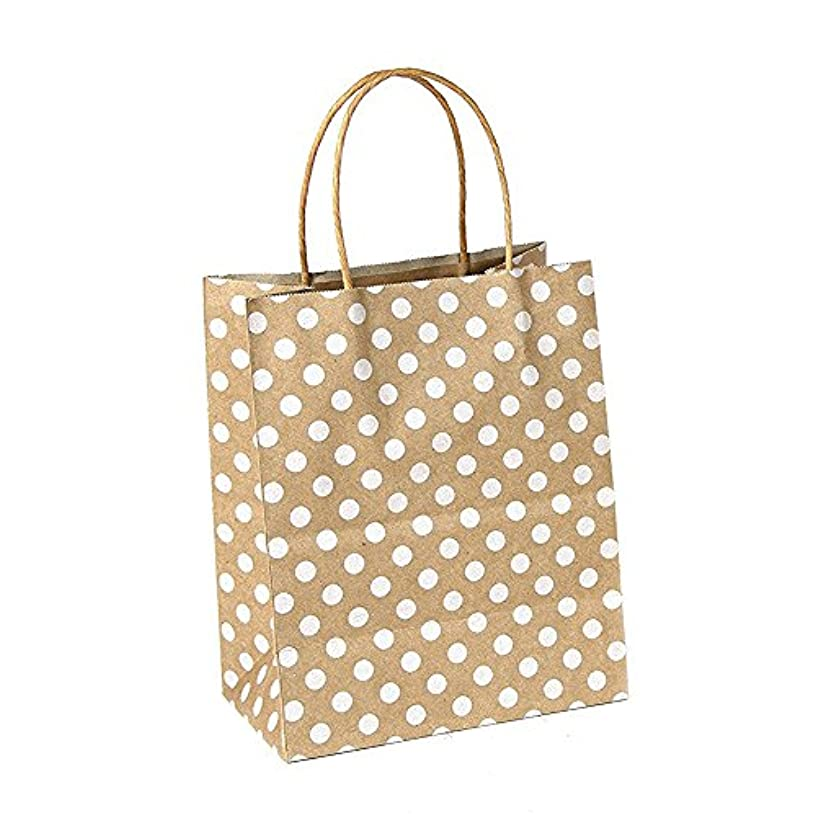 GIFT EXPRESSIONS Premium Quality Natural Brown Kraft Bag, Birthday Party Gift Favor Bag Set, Biodegradable Paper (12CT, Polkadots Medium)