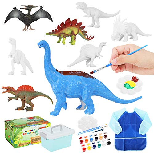 Auney Kids Dinosaur Painting Kit, DIY Dinosaurs Toys Art and Craft Supplies Set 3D Painting Animal Set for Boys Girls Age 3 4 5 6 7 Years Old