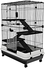 """PawHut 32""""L 4-Level Indoor Small Animal Rabbit Cage with Wheels - Black"""