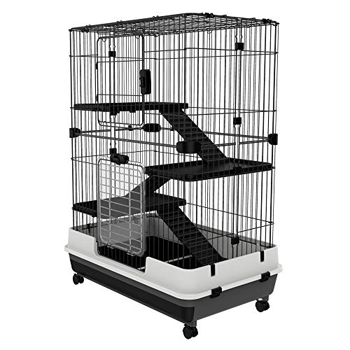 "PawHut 32""L 4-Level Indoor Small Animal Rabbit Cage with Wheels - Black"