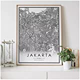 YGWDLON Jakarta Stadtplan Nordic Wohnzimmer Dekoration