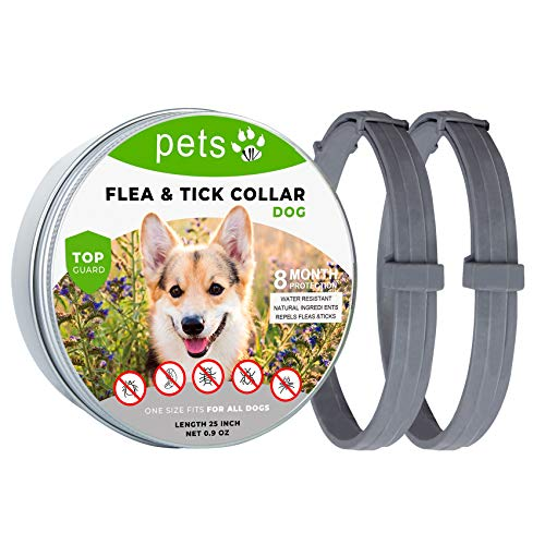 2 Pack Flea and Tick Collar for Dogs, Treatment and Prevention Use Dog Flea Collars, Adjustable 25 inch