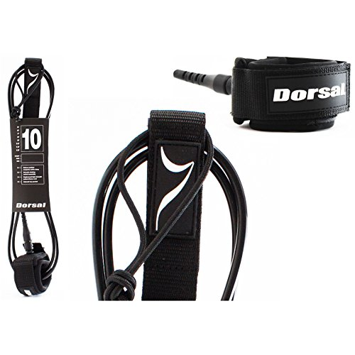 DORSAL Premium ProComp Surfboard 6, 7, 8, 9, 10 FT Surf Leash - Black 10 FT Longboard/Black