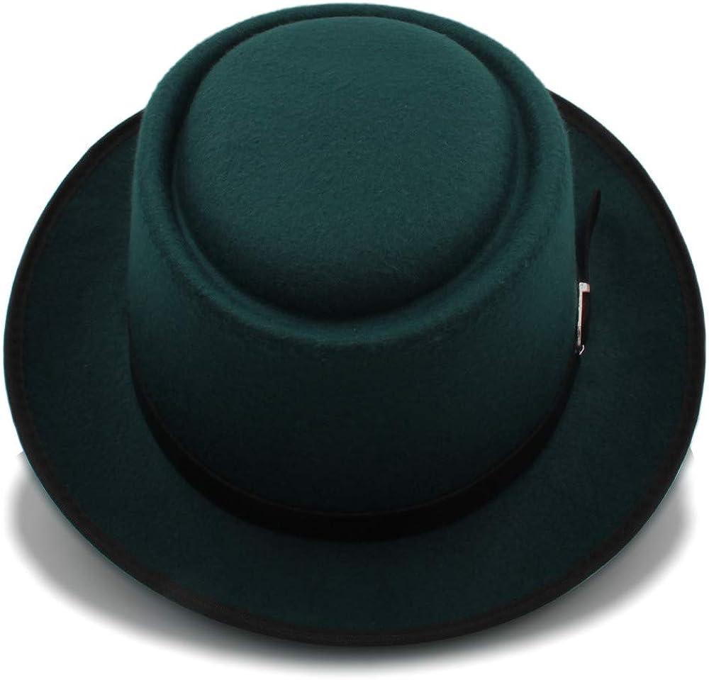 Hxgang Mens Fedora Wide Brim Classic Winter Black Male Pork Pie Hat Felt Hats