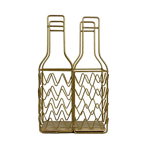MeterMall Home For Home Iron Wine Bottle Shelf Champagne Holder for Cabinet Decoration Golden