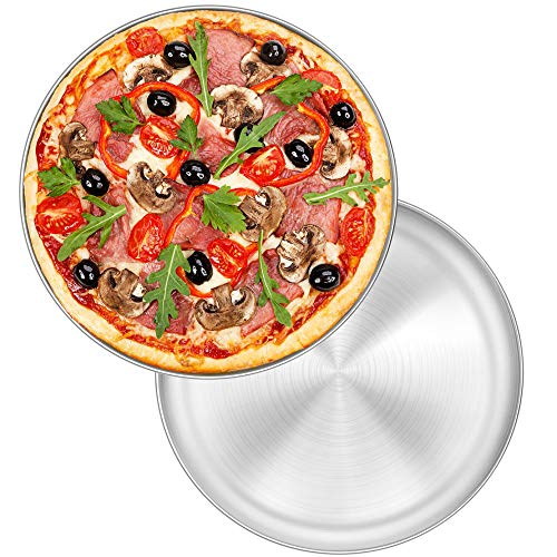 11.8 Inch Pizza Pan Set of 2, P&P CHEF Stainless Steel Round Oven Pizza Tray for Pizza, Pie, Cake, Cookie, Non-toxic & Healthy, Easy Clean & Dishwasher Safe