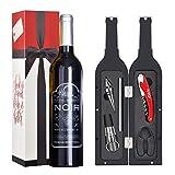 Kato Tirrinia Wine Accessories Gift Set - 5 Pcs Deluxe Wine Opener Bottle Corkscrew Screwpull Kit Great Gift for Wine Lover, Gadgets for Men Women, Red
